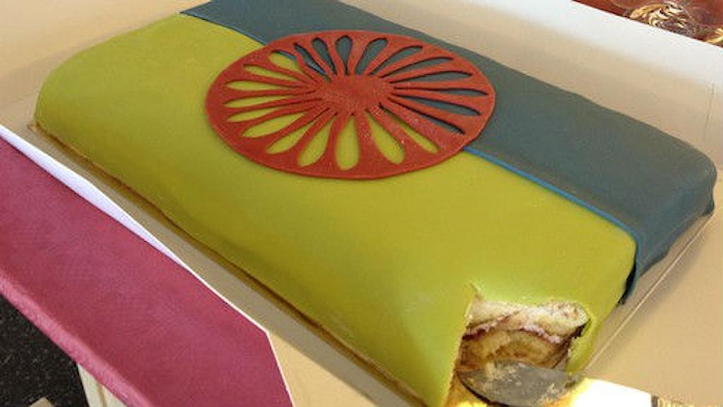 Romska flaggan som tårta Foto: SVT Bild