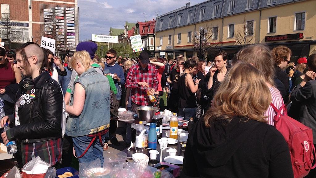 Arkivbild från protester på Rådhustorget i Umeå. Foto: Maria Johansson/Sveriges radio