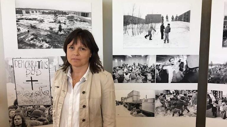 Fotoutställningen Slaget om dungen invigs av Veronica Karlsson, Västerbottens museum Foto Mikael HermanssonSR Västerbotten