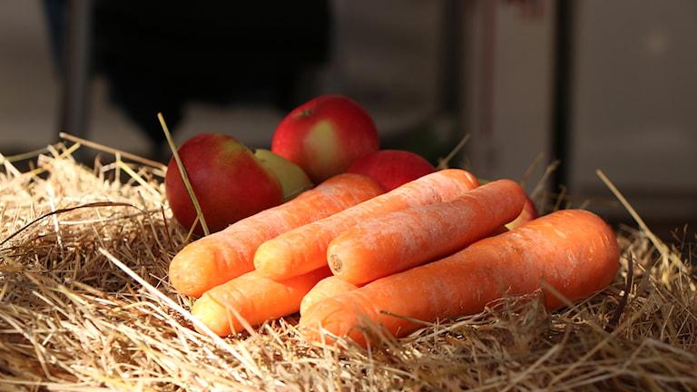 Närproducerade grönsaker. Foto: Helena Ramfjord/Sveriges Radio