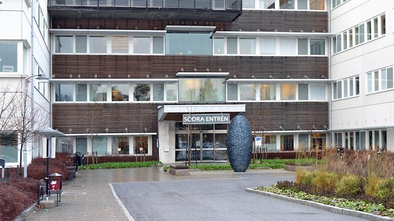 Södra entrén, Norrlands universitetssjukhus Nus i Umeå. Foto: Lillemor Strömberg/Sveriges Radio.