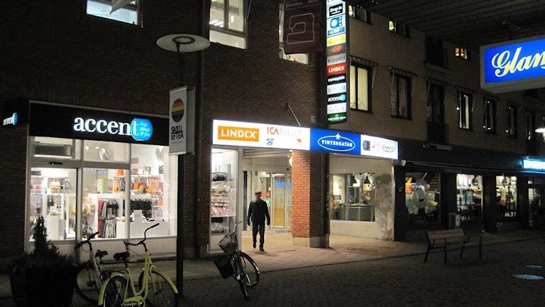 Ingången till köpcentrat Vintergatan Skellefteå