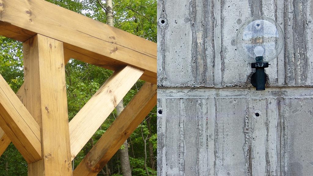 Trähus eller betonghus? Foto: Arbre Evolution/Flickr.com (CC BY-SA 2.0) Daniel Mott/Flickr.com (CC BY-SA 2.0)