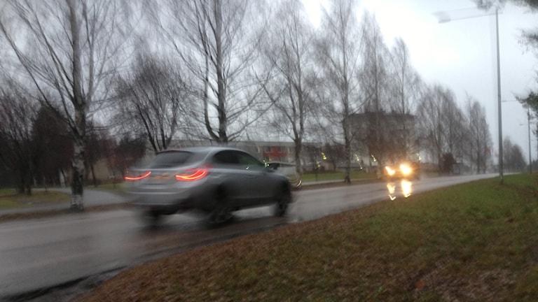 Trafik i mörker, bil i mörker, billysen. Foto: Erica Dahlgren/Sveriges Radio