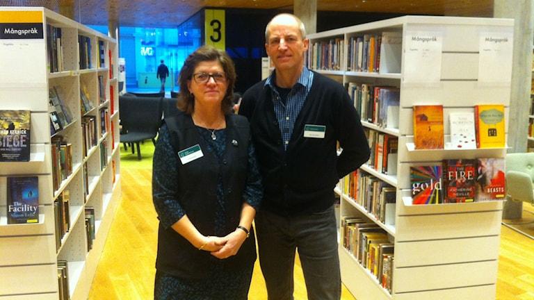 Gunilla Brink, enhetschef och Åke Samuelsson projektledare för flytten av stadsbiblioteket. Foto: Joakim Silverdal/Sveriges Radio