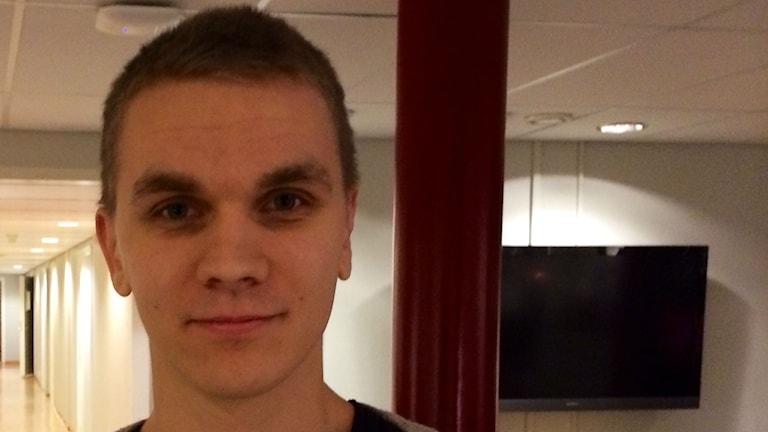 Tobias Lindgren, ordförande i Sverige demokraternas nybildade ungdomsförbund i Västerbotten. Foto: Olov Antonsson SR/Västerbotten