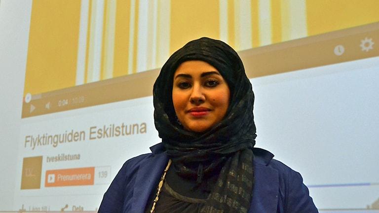 Amal Jabar Thamir är projektsamordnare för Umeåregionens flyktingguider. Foto: Lillemor Strömberg/Sveriges Radio.