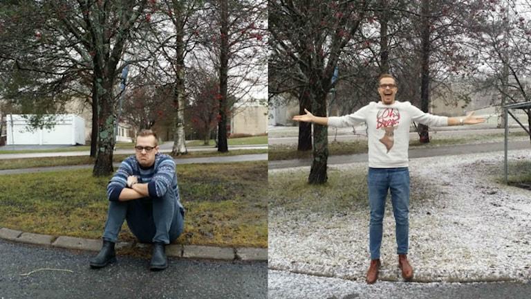 Före och efter. Micke gläds åt snöfallet över Umeå. Foto: Rihaneh Rouhani/Sveriges Radio