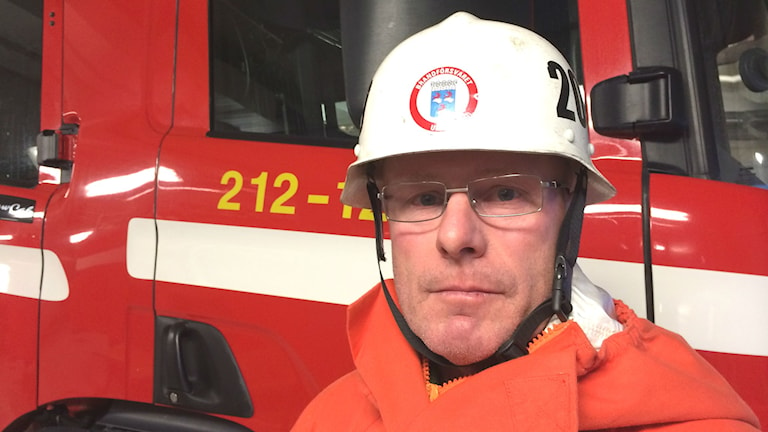 Per Holmgren, deltidsbrandman i Holmsund. Foto: Olov Antonsson/Sveriges Radio
