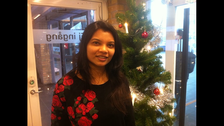Studenten Vandana Parekh från indiska Surat firar jul i Västerbotten i år. Foto: Johanna Frostensson/SR