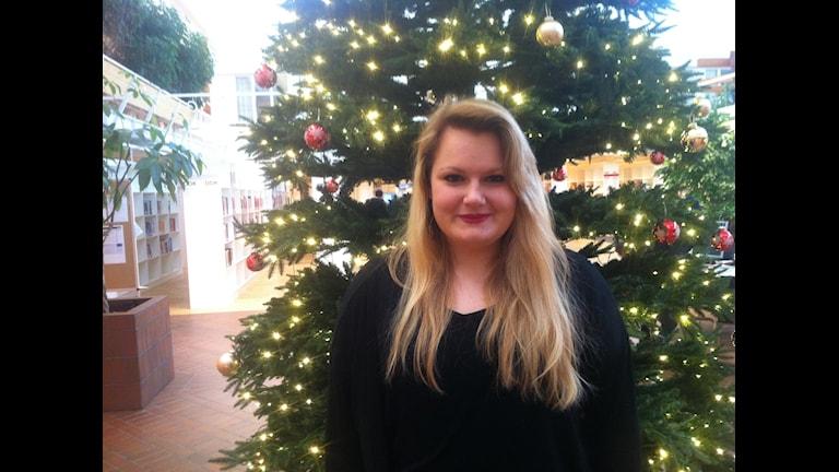 Jessica Wädt från tyska Leinzell firar sin första jul utan sin familj. Foto: Johanna Frostensson/SR