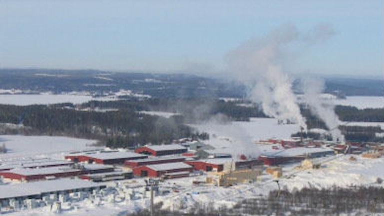 Vy över Skidbacken i Bygdsiljum och Martinssons trä. Foto: SR Västerbotten