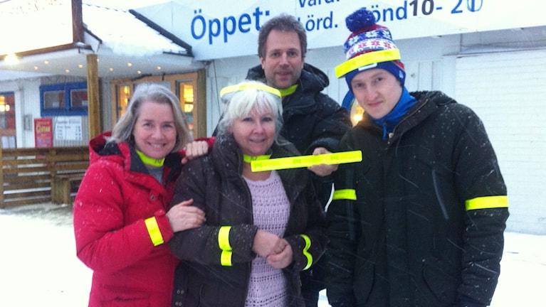 Ett laddat gänget från P4 Västerbotten som sänder direkt från Bygdeå i eftermiddag. Foto: Sveriges Radio