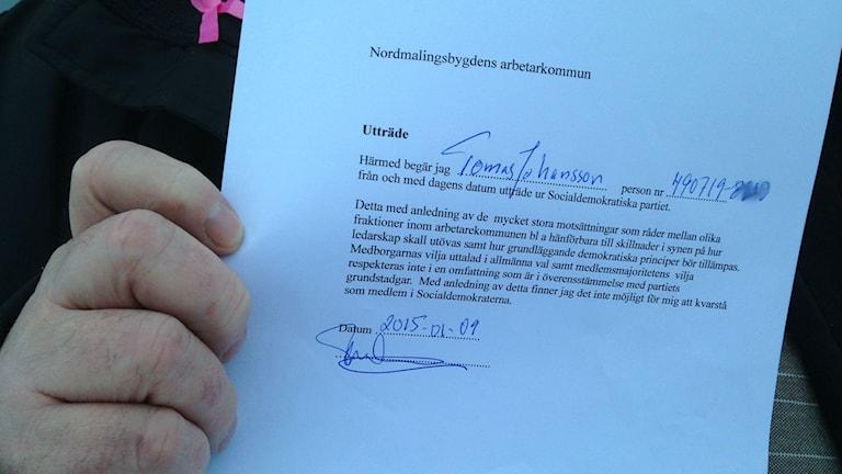 Tomas Johansson i Nordmaling lämnar in ansökan om att lämna partiet. Foto: Anna Burén/Sveriges Radio