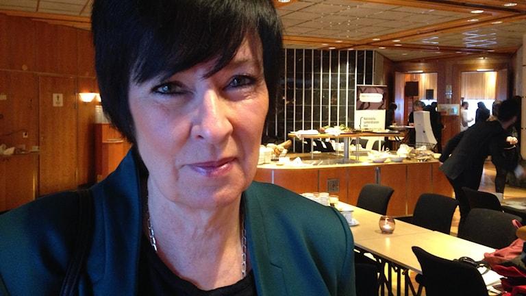 Mona Sahlin på konferens i Umeå, Foto: Anna Burén/SR.
