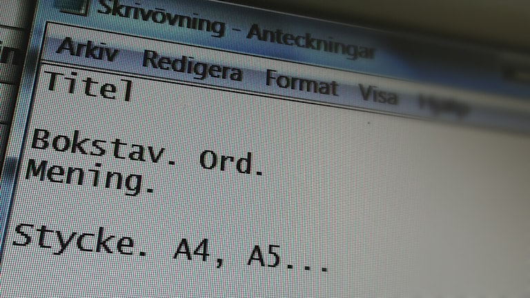 Text på en skärm