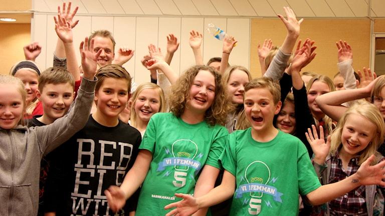 Backens skola 5A. Länsvinnare Västerbotten Vi i femman 2015. Foto: Helena Ramfjord/Sveriges Radio