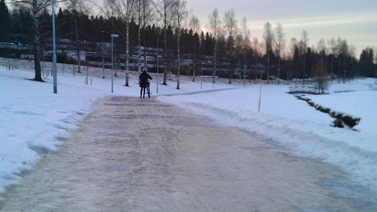 Ishalka på cykelbana. Foto: Peter Öberg, Sveriges Radio.