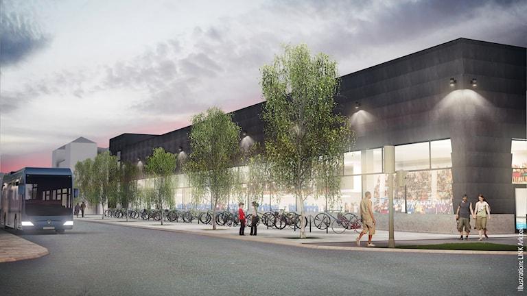 Umeås nya badhus Navet, fasaden mot Skolgatan. Illustration: Link Arkitektur.