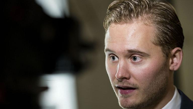 Henrik Vinge, presstalesman för Sverigedemokraterna. Foto: Pontus Lundahl/TT