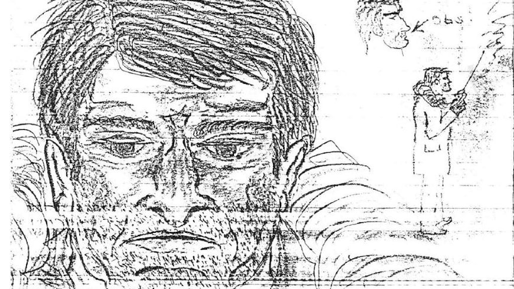 Skelleftehamnsmannens skiss över mannen med walkie-talkie, som han säger sig ha sett nära mordplatsen.