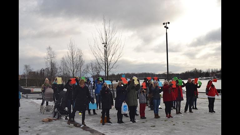 Manifestation för lika löner Foto: Filippa Armstrong/SR