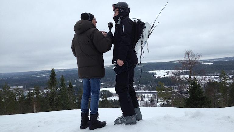 Sven och Anders sänder från Bygdsiljum. Foto: Anna Burén/Sveriges Radio
