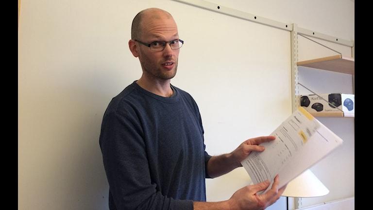Per-Erik Lyrén vid Umeå universitet är projektledare för konstruktionen av högskoleprovet Foto: Lillemor Strömberg/Sveriges Radio.