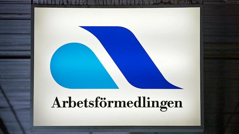 Arbetsförmedlingens skylt: Foto: Henrik Montgomery/TT
