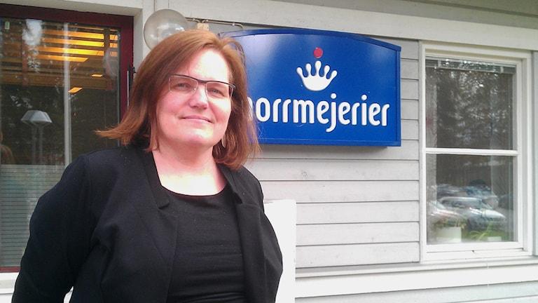 Norrmejeriers kommunikatör Mariann Holmberg. Foto: Peter Öberg/SR