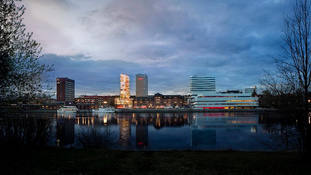 Skiss över det tilltänkta höghuset. Foto Umeå kommun.