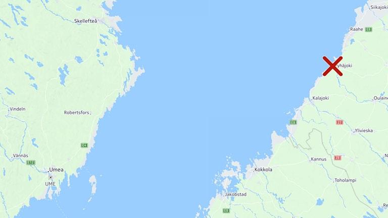Karta med avstånd mellan Västerbottens kust och Pyhäjoki i Finland.