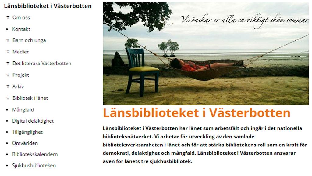 Skärmdump LÄnsbibliotekets hemsida en av sajterna som fått kritik