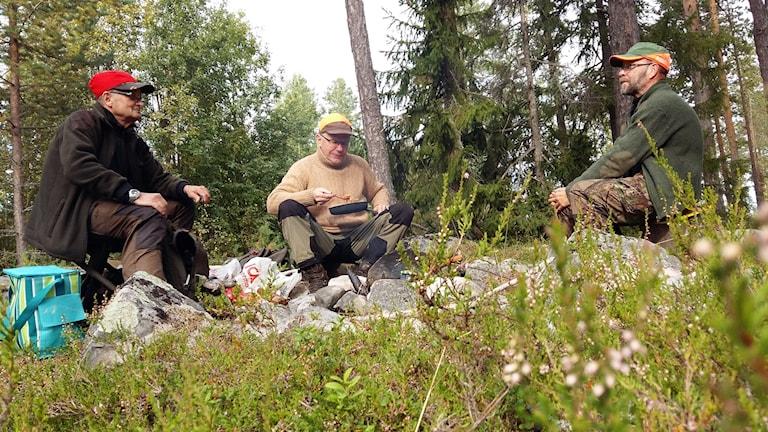 Tidig lunch blir det under älgjakten för Krister Nilsson, Jan-Erik Persson och Leif Nilsson. Foto: Linnea Hedelilja