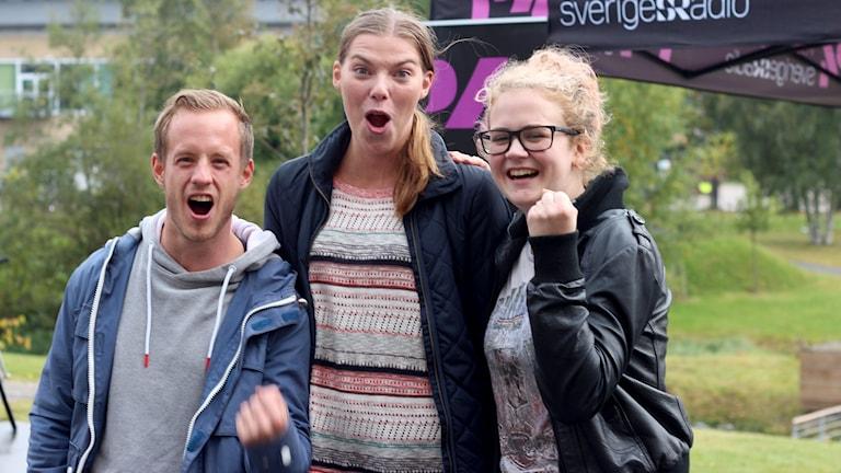 Peter Westin, Jenny Hansson och Elin Bergström. Foto: Helena Andersson/Sveriges Radio