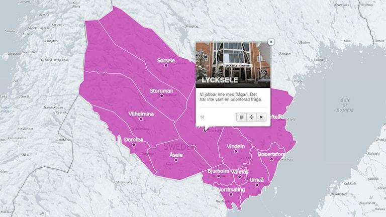 Karta över Västerbotten - så tänker din kommun om extremism Bild: Skärmdump från CartoDB