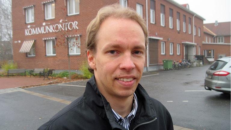 Mathias Haglund, kommunalråd (S) i Vindeln. Foto: Agneta Johansson/Sveriges Radio.