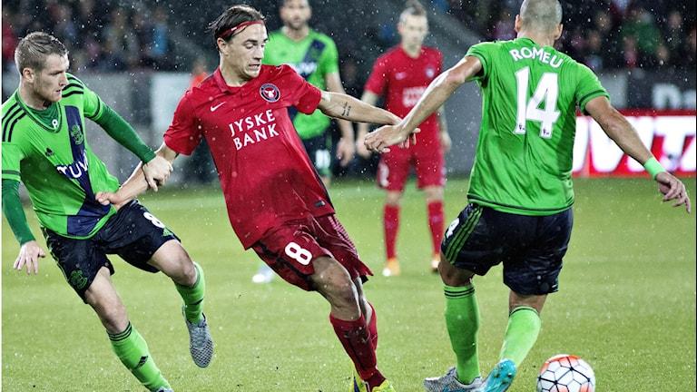 Petter Andersson från Ljusvattnet är fotbollsproffs i Midtjylland. Foto: Astrid Dalum