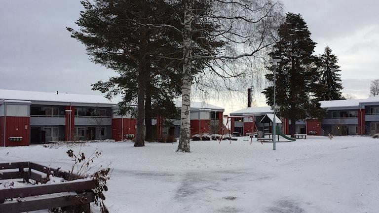 Bostadsområdet i Boliden som kallas för Röda torget. Foto: Linnea Hedelilja