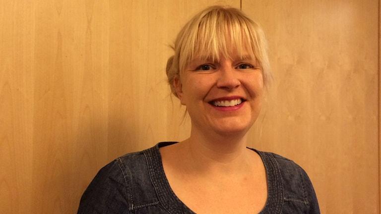 Ulrika Edman, gruppledare för Vänsterpartiet i Umeå kommun. Foto: Lillemor Strömberg/Sveriges Radio.