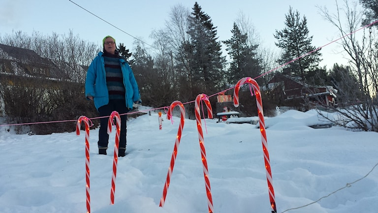Gulli-Ann Lundström hemma i sin trädgård. Foto: Linnea Hedelilja