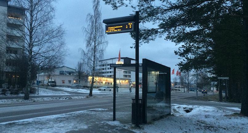 Busshållplats i Umeå med digitala skyltar för realtidsinformation. Foto: Lillemor Strömberg/Sveriges Radio.