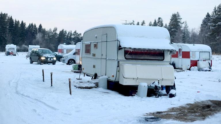 EU-migranternas läger på Backen i Umeå. Foto: Helena Andersson/Sveriges Radio