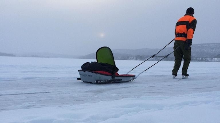 Skridskoåkare på Tavelsjö isbana. Foto: Lillemor Strömberg/Sveriges Radio