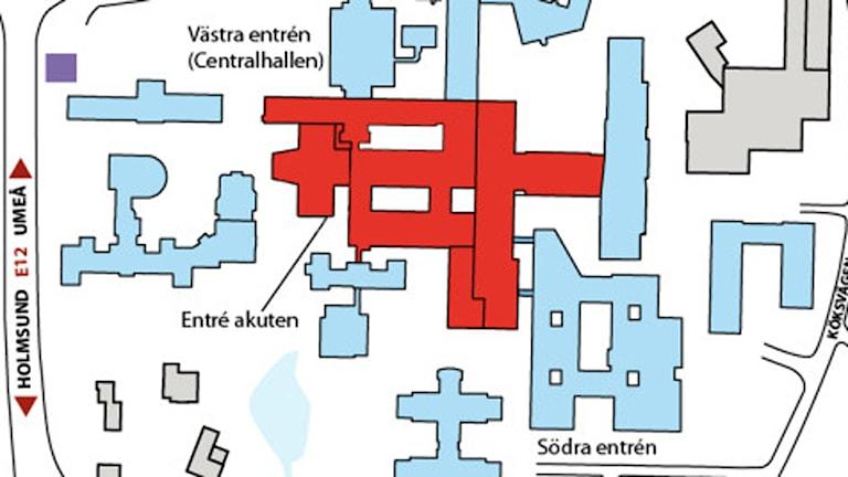 Karta över sjukhusområdet. Foto: Landstinget.