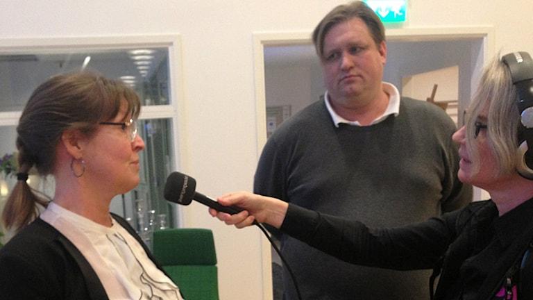 Anna-Karin Sjölander (C) och Andreas Lundgren (S).