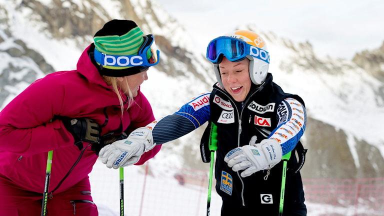 Anja Pärson och Magdalena Fjällström.