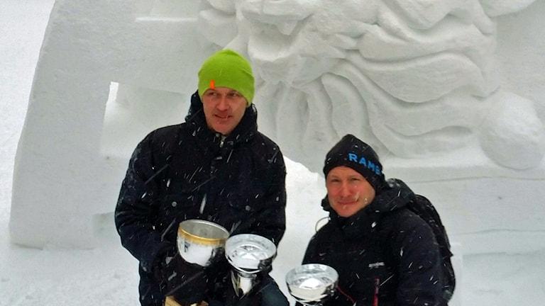 Lag Apelsin vann snöskulpturtävling Umeå 2016. Foto: Erja Back