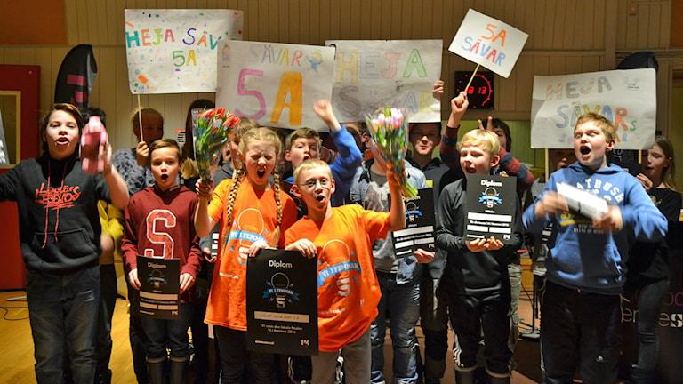 Sävar klass 5A vann den spännande finalen mot Täfteå klass 5 i Vi i femman Västerbotten. Foto: Adam Timander/Sveriges Radio.
