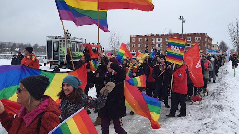 Prideparad i Skellefteå lockade många. Foto Örjan Holmberg/SR.